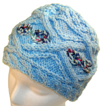 Light blue hand knit hat with sparkly highlights - $25.00