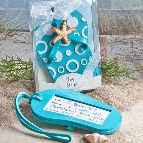 Blue Beach Flip Flop Luggage Tag Favor Wedding Bridal Shower Gift Reception - $3.58