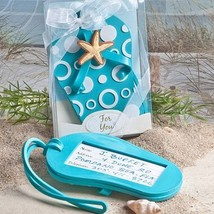 Blue Beach Flip Flop Luggage Tag Favor Wedding Bridal Shower Gift Reception - $3.58