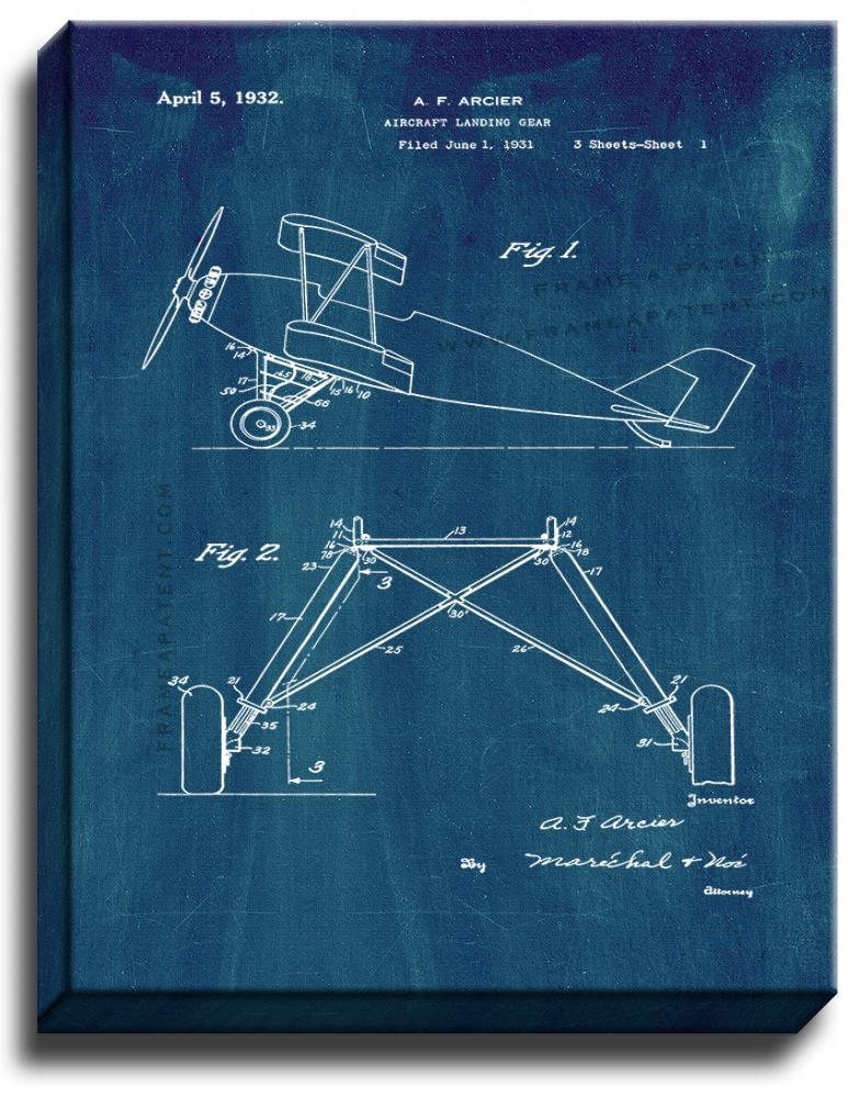 Primary image for Aircraft Landing Gear Patent Print Midnight Blue on Canvas