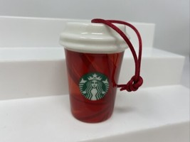 Starbucks Christmas Holiday Ornament 2014 To Go Cup Red Bursts Mini Gift - $14.84