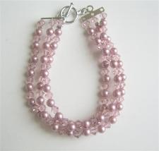 Powder Rose Pearls w/ Lite Amethyst Crystals Three Stranded Bracelet - $36.13