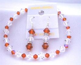 Bridemaides Bracelet & Earrings Set w/ Genuine Swarovski Burnt Orange - $28.33