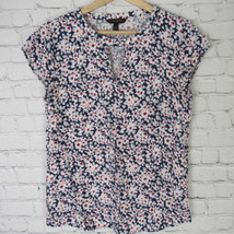 Banana Republic Shirt Top Womens Size Small S Blue White Red Flower Patt... - $27.88