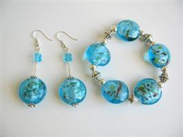 Murano Glass Flat Bead Stretchable Bracelet Earring Bali Silver Spacer - $23.13