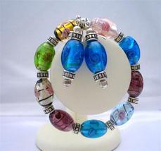 Multi Murano Glass Stretchable Bracelet w/ Sterling Earrings Jewelry - $21.83