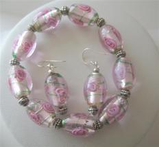 Pink MILLIFIORI VENETIAN GLASS BEADS Stretchable Bracelet Earrings - $21.83