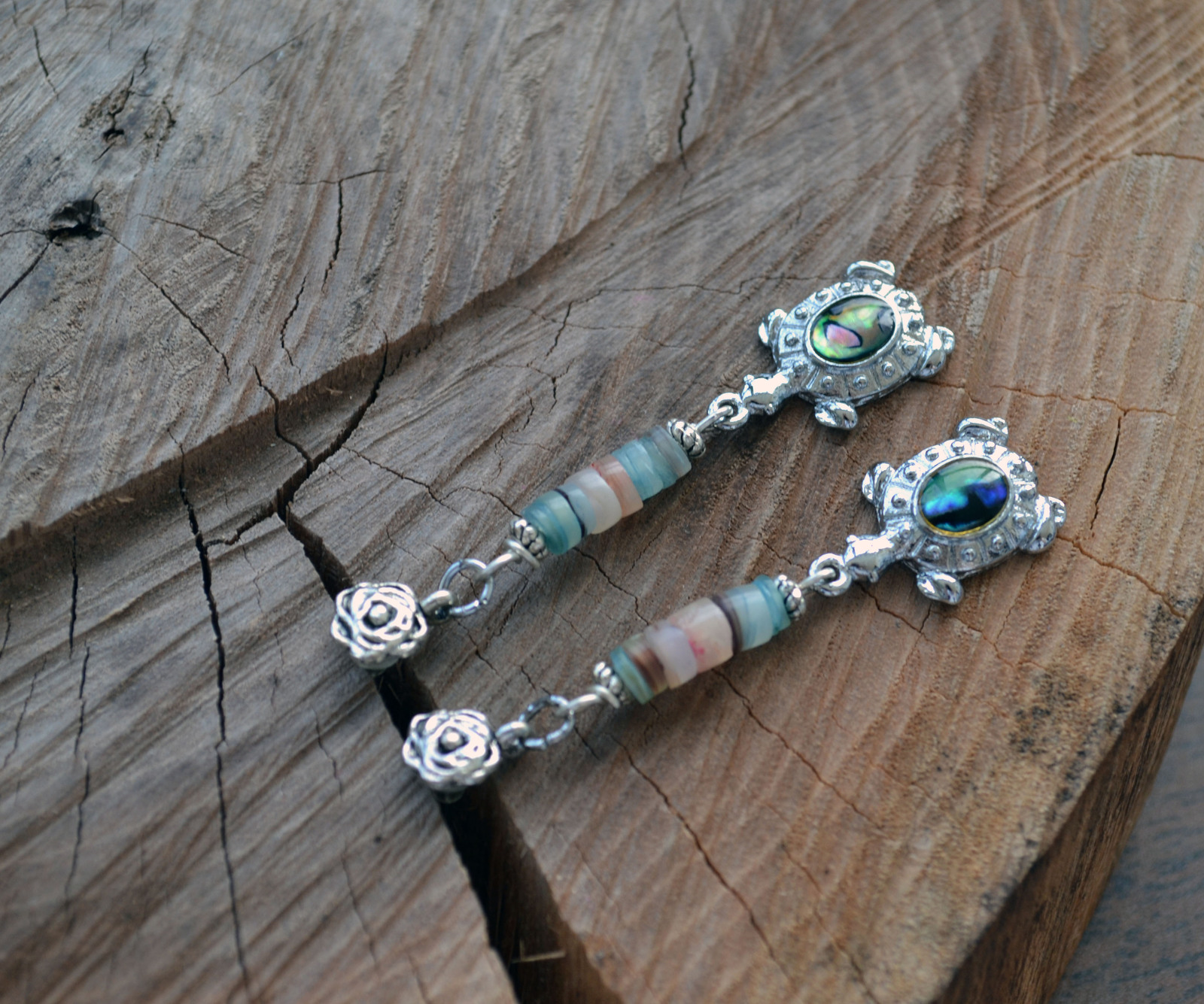 Long Boho earrings, Turtle earrings, shell earrings,Silver drop Earrings (E57-8)