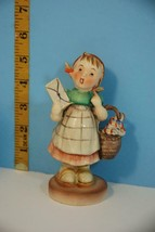 Vintage Ceramic Figurine Little Girl w/Basket and Holding Letter Japan - $12.85