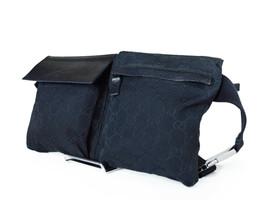 Gucci GG Pattern Canvas Leather Black Waist Belt Bum Bag GW2297 - $299.00