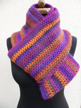Loop scarf, Circle infinity boho scarf, Hand crochet neckwarmer, orange and lila image 2