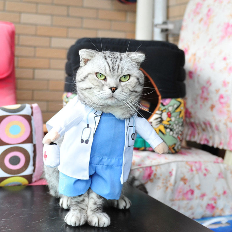 Funny Pet Costume Dog Cat Clothes Dress Apparel Doctor
