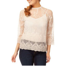 Sheer Lace Blouse CoverUp Top creme M - $15.00
