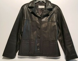 Jones New York Womens Black Leather Jacket Medium Four Button Lined Exce... - $14.65