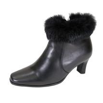 PEERAGE Venus Women Wide Width Leather Fur Collared Dress Bootie - $89.95