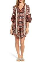KAS NEW YORK Womens Ruby Ruffle Sleeve Boho Tunic Fringe Dress Size Smal... - $27.22