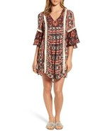 KAS NEW YORK Womens Ruby Ruffle Sleeve Boho Tunic Fringe Dress Size Smal... - $27.22