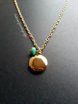Tiny Gold Locket Turquoise Bead Necklace Tiny Round Locket Minimalist Ne... - $28.50+