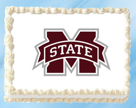 """Mississippi State Edible Image Topper Cupcake Cake Frosting 1/4 Sheet 8.5 x 11"""" - $11.75"""