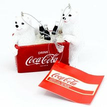 "Kurt S. Adler Coca-Cola Polar Bear Cubs with Cooler 3"" Christmas Ornament"