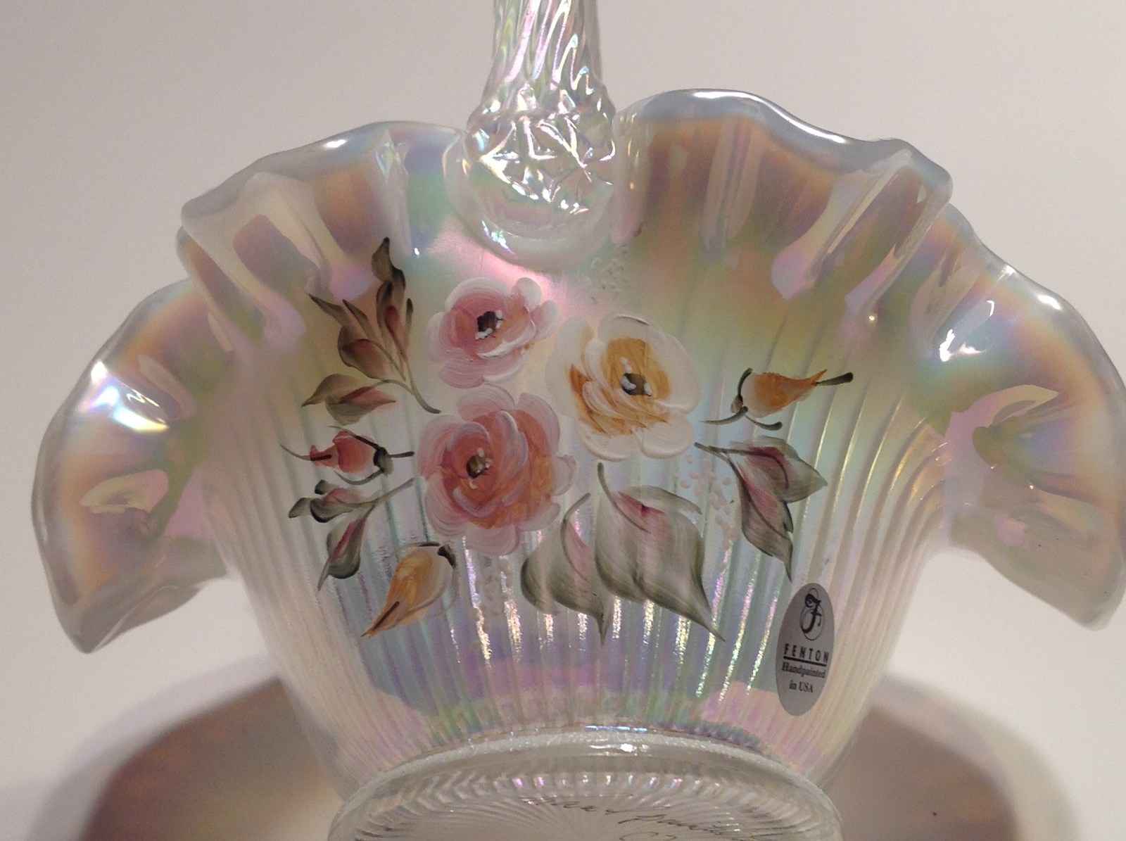 Fenton Opalescent Glass Basket Artist Signed Mackay Hand Painted image 4