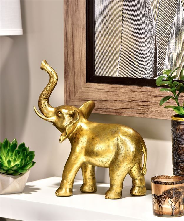 "12"" Standing Elephant Statue Table Decor Antiqued Gold Polyresin NEW"