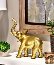 "12"" Standing Elephant Statue Table Decor Antiqued Gold Polyresin"