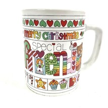 1983 Merry Christmas Friends Mug Loven Stuff Enesco Bears Hearts Mice Vintage  - $14.50