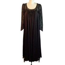 Vtg Lucie Ann Black Nylon Lace Negligee Peignoir Nightgown Robe Butterfly S - $232.65