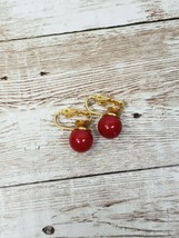 Vintage Clip On Earrings Red Ball - $10.99