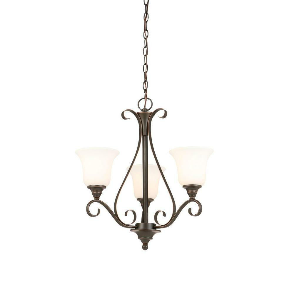Primary image for Hampton Bay 3-Light Oil Rubbed Bronze Chandelier with Frosted White Glass Shades