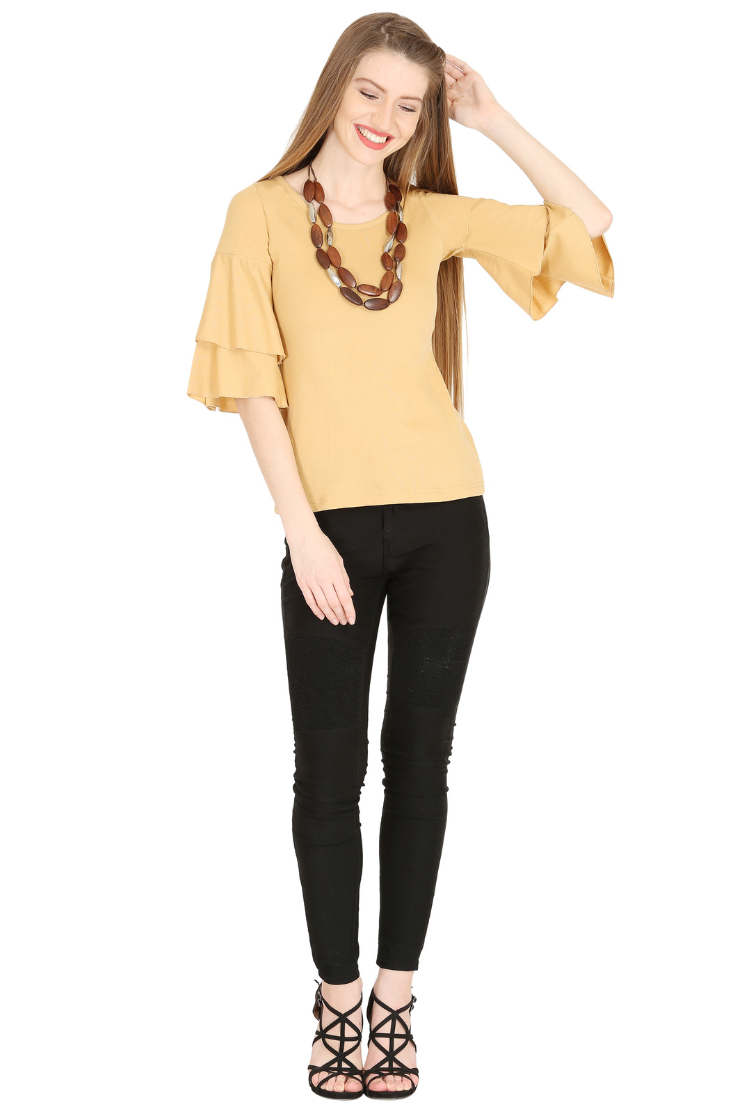 Tops for Women Beige Cotton Ruffle Bell Sleeves tops Chistmas gifts for her