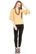 Tops for Women Beige Cotton Ruffle Bell Sleeves tops Chistmas gifts for her - $33.32