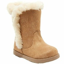 Cat & Jack Girls' Katrina Toddler Faux Fur Shearling Tall Brown Winter Boots NWT