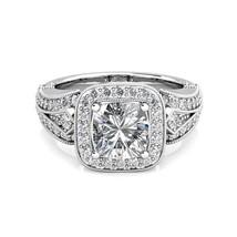 2.41 ct Cushion Charles Colvard One Moissanite & Diamond Engagement Ring... - $2,583.04