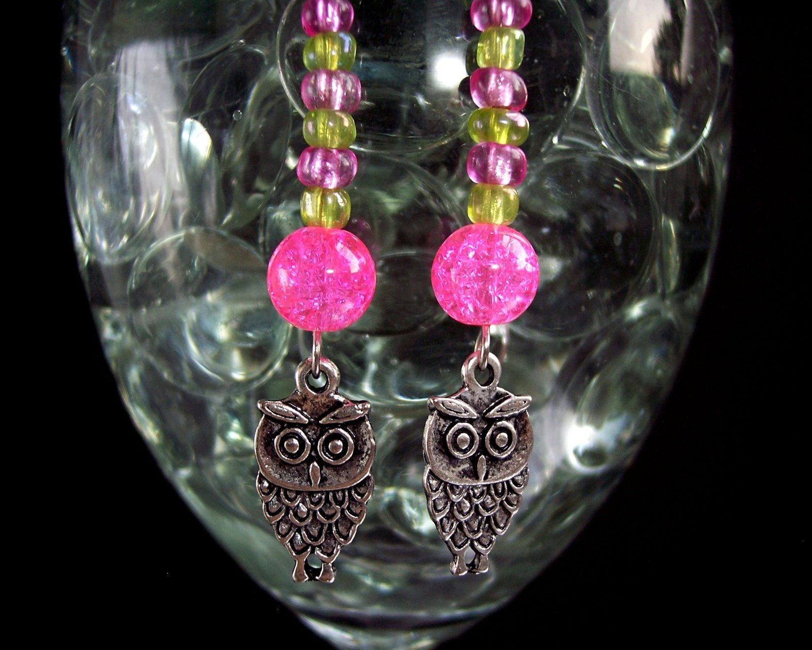 Owl Charm Earrings Green Pink and Silver image 3