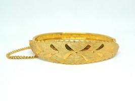 LJM Laurentian Victorian Revival Etched Gold Tone Bangle Clasp Bracelet w/ Chain - $13.86