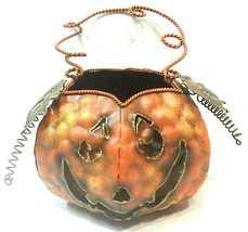 Tealight Tea Light Holder Jack O Lantern Halloween Tabletop Hanging Meta... - $16.82