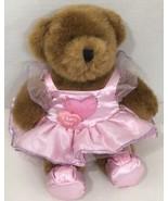 "Build a bear Teddy brown mid-sized 12"" Plush Pink heart dress stuffed an... - $12.86"