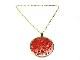 Vintage Christmas Pendant Necklace, Copper Red Pendant, Partridge In A Pear Tree - $21.77
