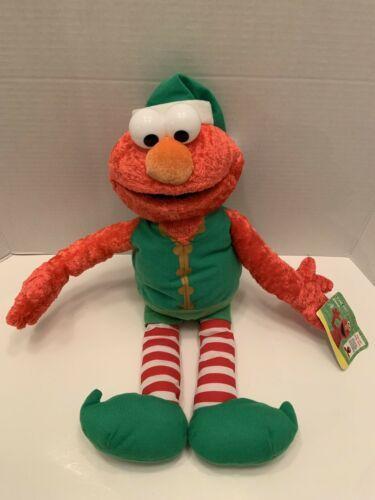 "Elmo Rare Vintage Christmas Elf Sesame Street Mattel Plush 2007 18""H tag"