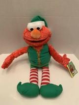 "Elmo Rare Vintage Christmas Elf Sesame Street Mattel Plush 2007 18""H tag image 1"