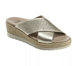 Earth Metallic Crystal Cross Strap Slide Sandals Size 8 Gold Leather  - $58.00