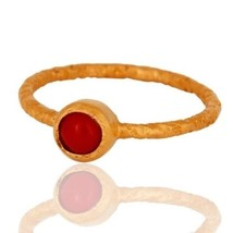 925 Sterling Silver18K Yellow Gold Plated Natural Red Coral Gemstone Rin... - $14.00