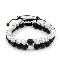 Adjustable 2Pcs/Lot Beaded Bracelets Bangles Set Natural Lava,Howlite St... - $12.85