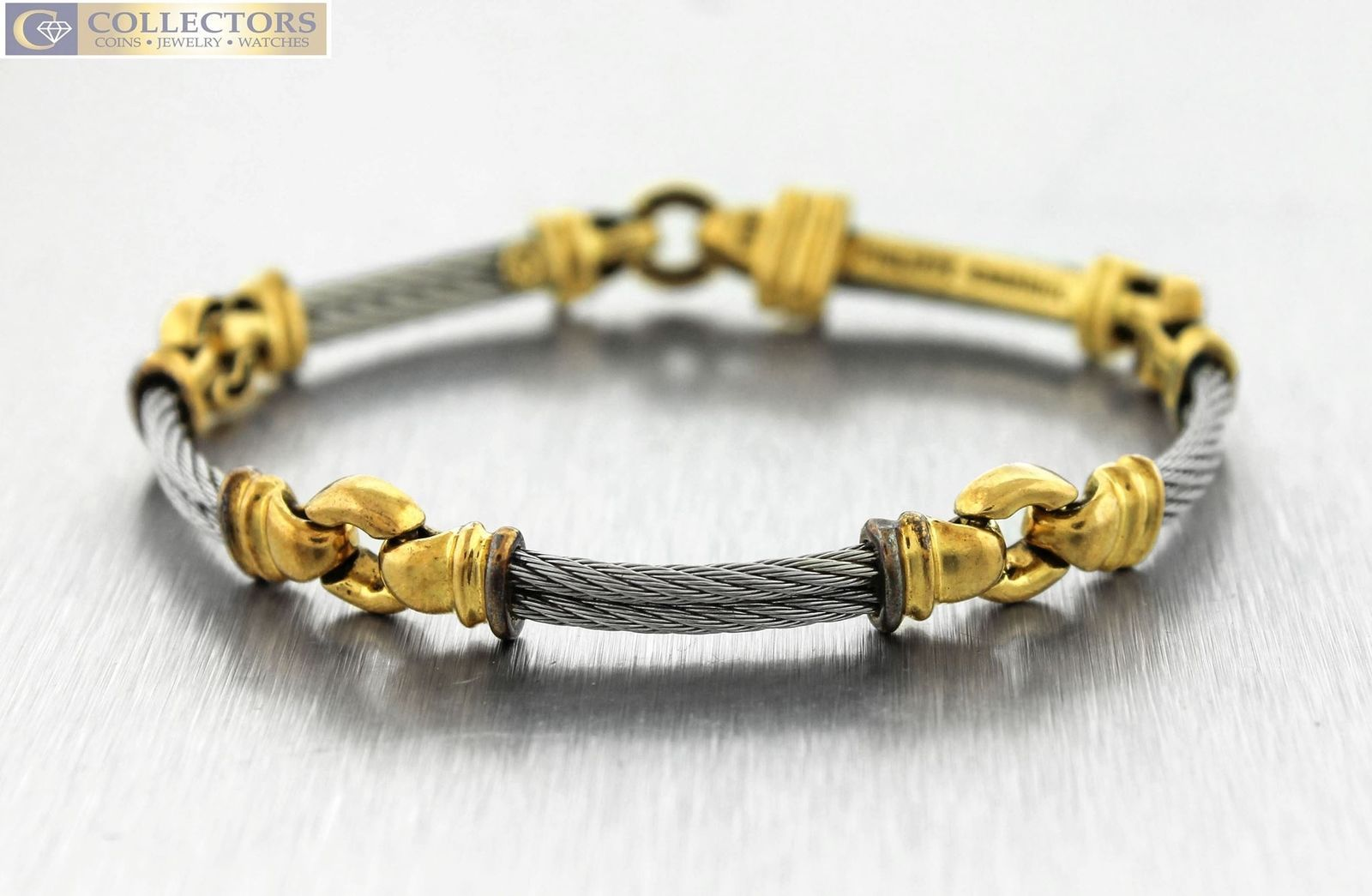"Primary image for Genuine Philippe Charriol 18K Yellow Gold Stainless Cable Link 7.00"" Bracelet"