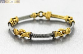 """Genuine Philippe Charriol 18K Yellow Gold Stainless Cable Link 7.00"""" Bra... - $999.99"""