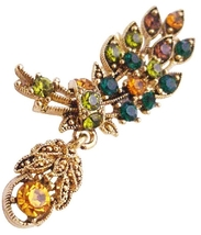 Antique Gold Leaf Brooch Cute Dangling Multicolor Crystals Brooch Pin - $17.28