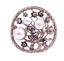 Unique Christmas Gifts Gray Pearls Black Diamond Crystals Round Brooch - $34.18