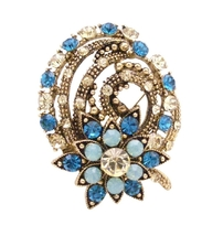 Sparkling Diamante Artistically Decorated Embedded Crystals Brooch Pin - $18.58